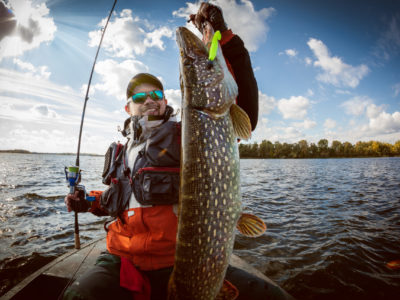 Fishing. Fisherman and trophy Pike.